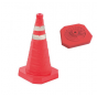 Verkeerskegel PVC 45 cm | Vouwbare pion fluor oranje met 2 strepen