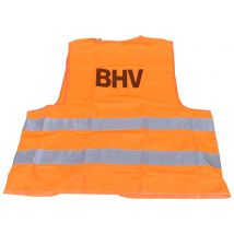 Veiligheidsvest BHV fluo oranje met opdruk BHV - in tasje