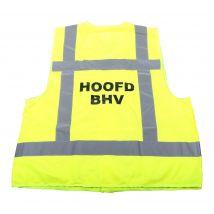 Veiligheidsvest Hoofd BHV fluo geel met opdruk BHV - achterkant