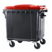 4 wiel afvalcontainer 770 liter grijs/rood