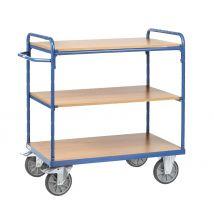 Etagewagen 600 kg. 850x500 mm. 3 etages hout