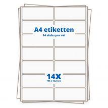 A4 etiketten 14/vel, 105 x 42.4 mm.