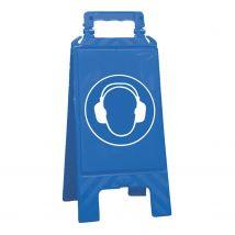 Waarschuwingsbord blauw gehoorbescherming verplicht