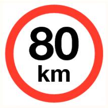Verbodspictogram maximale snelheid 80 km vinyl sticker 200 mm