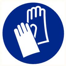 Veiligheidshandschoenen verplicht rond vinyl sticker Ø 300 mm