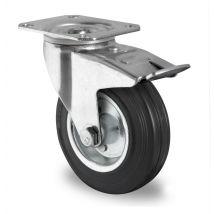 Zwenkwiel met rem zwart massief rubber rollager Ø 125 mm