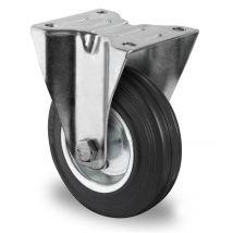 Bokwiel zwart massief rubber rollager Ø 160 mm