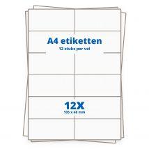 A4 etiketten 12/vel, 105 x 48 mm.