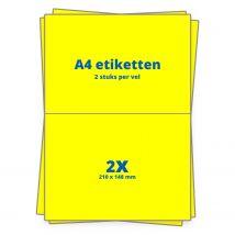 A4 etiketten 2/vel 210 x 148 mm - 100 vel - Geel