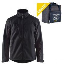 Werkjas Blåkläder 4950 Softshell Zwart/Grijs maat XXL - voorkant