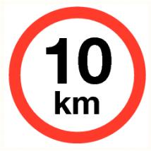 Maximale snelheid 10 km - kunststof plaat 400 mm