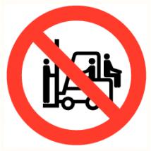 Mensenvervoer op heftrucks verboden - vinyl sticker 150 mm