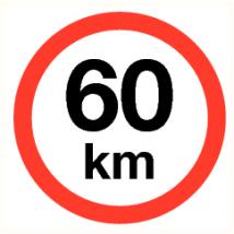 Maximale snelheid 60 km - vinyl sticker 200 mm