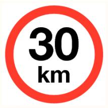 Maximale snelheid 30 km - vinyl sticker 200 mm