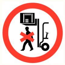 Verboden onder de last te lopen - vinyl sticker 150 mm