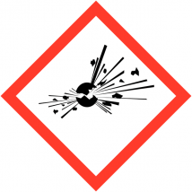 Gevaarsetiket GHS Explosive 10 x 10 mm zelfklevend papier op rol - 1000 stuks