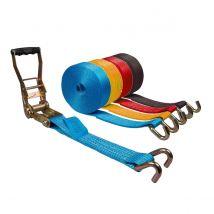 Spanband 50 mm 5 ton ERGO (trek-)ratel + Klauwhaak - Kleur en lengte naar keuze