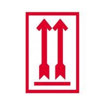Etiket met 2 pijlen omhoog, rood 80x100 mm - Rol 500 stuks