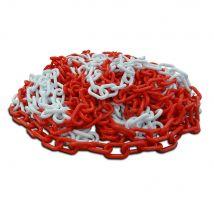 Kunststof ketting rood / wit 6 mm 25 meter