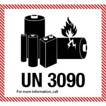 IATA UN 3090 etiket Lithium Batteries - telefoonnummer naar keuze