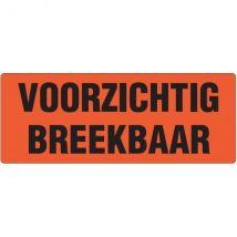 Etiket VOORZICHTIG BREEKBAAR oranje 130x50 mm - 500 etiket/rol